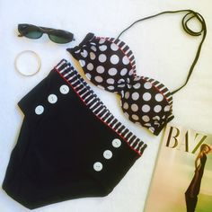 5⭐️BUYER RATED⭐️HIGH WAIST POLKA DOT BLACK BIKINI Trendy, high waist bikini polka dot swimsuit. Made of cotton and polyester. Size L on tag and size M/L on size chart. Please read size chart for proper sizing. No trades and a smoke free home. Price is firm unless bundled. Our closet offers 10% off two and 15% off three items when bundled from our closet using the new bundle feature. Thank you for stopping by @treasuresbytrac  treasuresbytrac Swim Bikinis