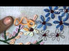 Beautiful Hand Embroidery Work Designs # 95 - Lazy daisy stitch