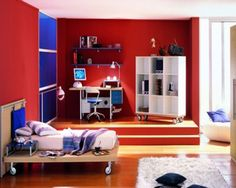 Modern Red and White Kids Boys Bedroom Ideas Pictures with Simple Brown Wood Bed Frame that have White Bedding and Minimalist Study Desk on the Wood Flooring complete with the Chair
