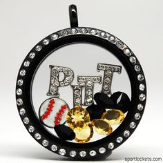 Pittsburgh baseball themed locket necklace from SportLockets.com.  Customize this jewelry with your own letters!