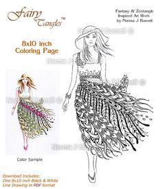 Summer Sundress Fairy Tangles Coloring Sheet Adult Digi Coloring Book Template Page by Norma J Burnell 8x10 Woman Coloring Page Template