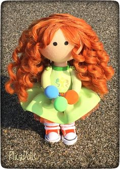 FREE SHIPPING Sweet little redhead curly girl doll Corporate mascot Apple green dress OOAK textile tilda cloth fabric office decor doll by PticaDolls on Etsy https://www.etsy.com/listing/548773264/free-shipping-sweet-little-redhead-curly