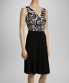 Another great find on #zulily! Black & White Swirls Surplice Dress by Bantry Bay #zulilyfinds