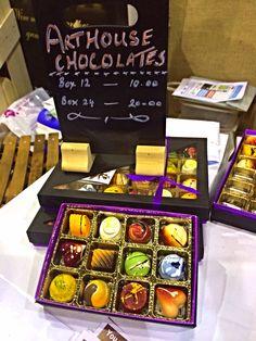 Beautiful painted hand made artisan chocolates by Arthouse, Dorset.