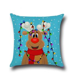 Souarts Flaxen Christmas Father Elk Snowflake Pattern Cushion Cover Car Throw Pillow for Home Decoration >>> This is an Amazon Affiliate link. Find out more about the great product at the image link.