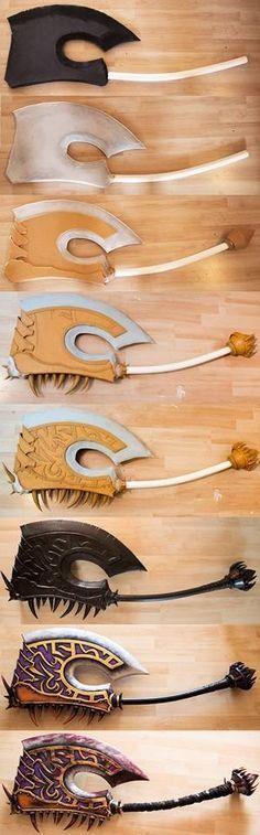 Weapon progress, using Eva foam and PVC pipe- kamui Cosplay Weapons, Cosplay Armor, Cosplay Diy, Halloween Cosplay, Halloween Costumes, World Of Warcraft, Larp, Foam Armor, Costume Tutorial