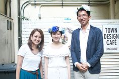 Naoki and Yuka wearing flower crowns after the Pinterest Japan event with Pinners.