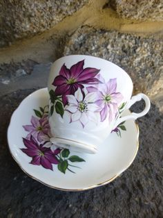 Tea set  Royal Ascot  Fine  Bone China Tea Cup by vintagepurveier, $28.00
