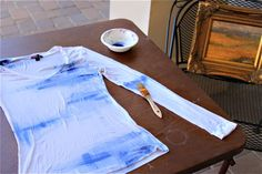 Painting on Fabric (A Tutorial) - Ashley Hackshaw / Lil Blue Boo Fabric Painting, Fabric Art, Fabric Crafts, Fabric Design, Diy Clothes Tops, Light Blue Paints, Paper Light, Fabric Markers, Old T Shirts