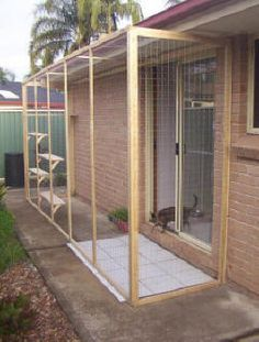 Idea for my sister Another outdoor cat play pen idea. This would work great for our house which has a random sliding door that drops off to no where land! :D