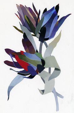 "illustration for ""Flower designer"" by Hiroyuki Izutsu, via Behance Art And Illustration, Floral Illustrations, Graphic Design Illustration, Botanical Illustration, Graphic Art, Motif Floral, Arte Floral, Morris, Arte Pop"