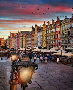 Twilight blankets Gdańsk, Poland.