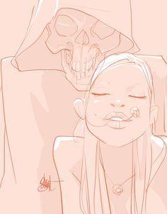 Death & Maiden - by Otto Schmidt (AshOkaConcept ॐ) Otto Schmidt, Dreamworks, Illustrations, Illustration Art, Red Riding Hood Wolf, Up Animation, Death Art, Father Time, Skeleton Art