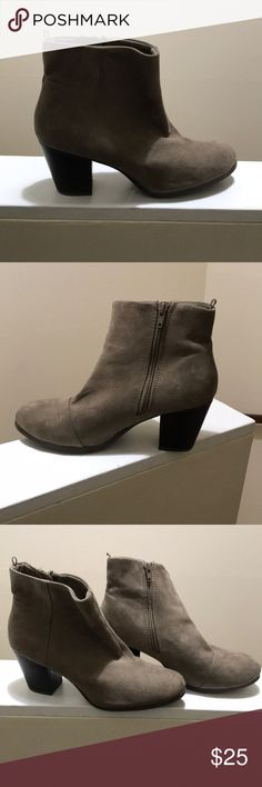 Old Navy Tan Suede Heeled Booties These adorable booties are so cute to dress up or down. There is a minor scuff on the heel of one of the boots  as pictured but there is so much life left in these boots Old Navy Shoes Ankle Boots & Booties