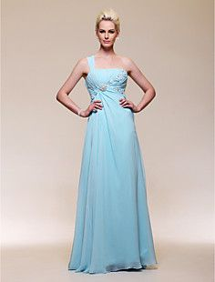 A-line One Shoulder Floor-length Chiffon Evening Dress  – USD $ 98.99