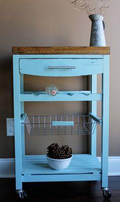 Kitchen island wine rack cart with butcher block