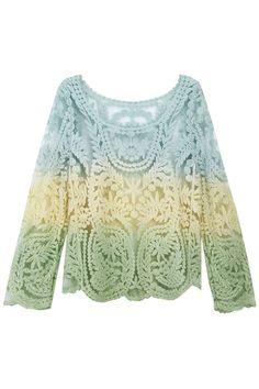Color Block Hollow Lace Blouse#Romwe