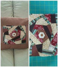 Cojin en patchwork con retazos