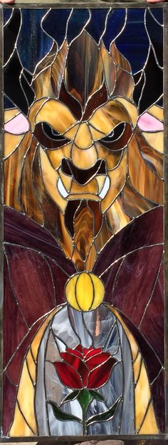 Beauty and the Beast.  My stained glass art