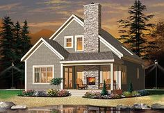 The Fireside House Plan - 4752  Love love love the outdoor fireplace!