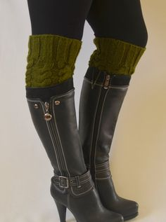 boot cuffs  hand knit green boot cuffs boot socks boot by bstyle, $25.00