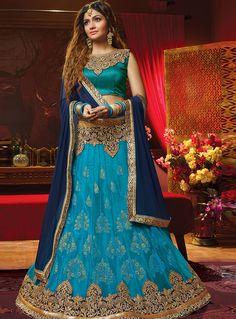 Blue Net Embroidery Work A Line Lehenga Choli 99516