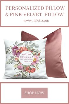 Personalized pillow and pink velvet pillow made from premium fabrics. Personalized Couple Gifts, Personalized Pillows, Pink Velvet Pillow, Velvet Pillows, Handmade Cushion Covers, Handmade Cushions, Baby Pillows, Throw Pillows, How To Make Pillows