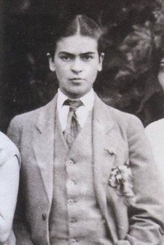 young Frida Kahlo, dressed in man's suit