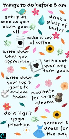 The Best Morning Routine: 8 Things To Do Before 8 a. - Captivating Crazy - Ahmad - The Best Morning Routine: 8 Things To Do Before 8 a. - Captivating Crazy The best morning routine infographic Vie Motivation, Morning Motivation, Happiness Challenge, Self Care Activities, Good Habits, Healthy Habits, Self Improvement Tips, Self Care Routine, Self Development