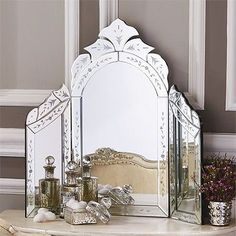 """Reggia Venetian Style Dressing Table Wing Mirror - Glass/MDF Our exquistely beautiful Reggia""""¢ Venetian Style Dressing Table Wing Mirror lends an antiqued feeling of feminity and elegance to your vani Vintage Dressing Tables, Dressing Table Vanity, Dressing Room, Dressing Mirror, Vintage Beauty, Tocador Vanity, Beautiful Mirrors, Color Plata, Home Decor Online"""