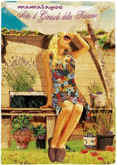 """""""Sotto il Girasole della Toscana"""" by Mamatayoe. Postcard #3. PV14. Toscana, 3, Fashion Branding, Fabrics, Clothing, Italy"""