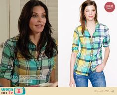 Jules's green plaid shirt on Cougar Town. Outfit Details: http://wornontv.net/27638 #CougarTown #fashion