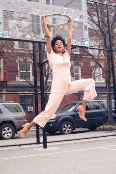 Model Ebonee Davis Talks Racism and Representation in Fashion: It was our absolute pleasure to spend an afternoon with her, dressing her in the colors of the season, and hearing all about what makes Ebonee, Ebonee. -- Pink matching top and pants with nude heels. | Coveteur.com