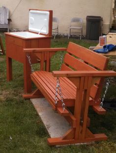 Wood swing/bench and wood cooler Wood Cooler, Wood Swing, Outdoor Projects, Outdoor Furniture, Outdoor Decor, Projects To Try, Bench, Woodworking, Diy Crafts