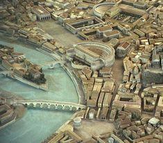 Modello di Roma, raffigurante in primo piano il teatro di Marcello e in secondo piano il teatro di Balbo con a fianco la Crypta Balbi.