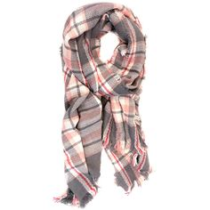 Joy Accessories Light Gray & Light Pink Plaid Scarf ($14) ❤ liked on Polyvore featuring accessories, scarves, tartan plaid scarves, tartan plaid shawl, tartan shawl, plaid scarves and tartan scarves