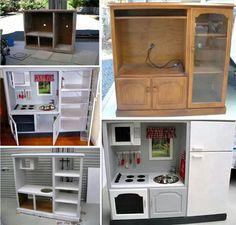 Old wardrobe turns into kids play kitchen