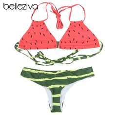 Belleziva Hot Sales Bikini Set Women Swimwear Swimsuit Halter Watermelon Print Bathing Suit Female Beach Maillot De Bain Biquini  Price: 23.04 & FREE Shipping  #fashion|#tech|#home|#lifestyle Amazing Store, Bikinis For Sale, Modern Country, Bra Styles, Swimsuits, Swimwear, Nice Body, Body Shapes, Bikini Set