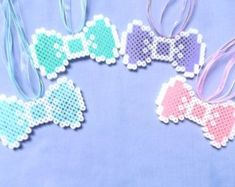 Kawaii Bow Necklace - Fairy Kei Bow Necklace - Pastel Goth Necklace - Perler Bead Necklace