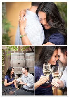 love the pictures with the wine glasses...possible engagement pics
