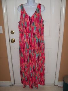 Faded Glory Multi Color Maxi Dress Size 2X (20) Women's NEW #FadedGlory #Maxi #SummerBeach