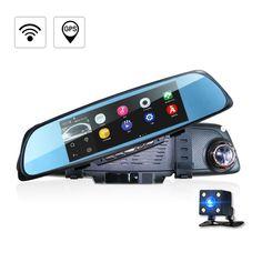 Car Camera DVR GPS Navigation Dual Lens Rearview Mirror Video Recorder FHD 1080P Automobile DVR Mirror Dash cam Built -in wifi
