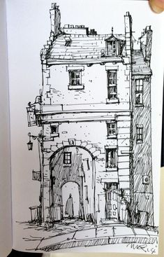 Inspiration = profile of building/arch created using fine liner, different shading techniques used to communicate light.  Ian McQue