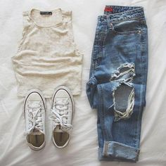 crop tank + ripped jeans + converse