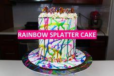 Easy Rainbow Splatter Cake Tutorial!!