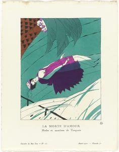 """Charles Martin   Gazette du Bon Ton, 1920 - No. 10, Pl. 72:  La morte d'amour / Modes et manières de Torquate, Charles Martin, Anonymous, Lucien Vogel, 1920   Een dode jonge vrouw, drijvend in het water, gekleed in een paarse japon. Op het hoofd een hoed met lint. Planche 72 uit Gazette du Bon Ton 1920, No. 10. Uitleg over de kleding op pagina """"Explication des Planches""""."""