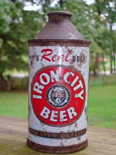 Iron City Cone Top Beer Can -- Vintage Beer Can -- Primitive, Rustic Vintage Bottles, Vintage Tins, Vintage Labels, Iron City Beer, Beer Can Collection, Old Beer Cans, All Beer, Beer Company, Beer Brands