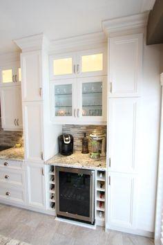 Kitchen Desks, Kitchen Redo, Kitchen Remodel, Kitchen Cabinet Wine Rack, Wine Cabinets, Built In Wine Rack, Home Bar Designs, Wine Fridge, Basement Remodeling