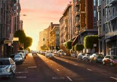 """Realistic landscape painting at Art Leaders Gallery: """"Evening in San Francisco"""" by Alexander Volkov. Discover affordable fine art, sculptures, hand blown glass, art gifts, and custom framing. artleaders.com 