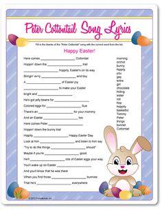 Printable Peter Cottontail Song Lyrics